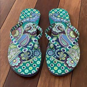 Vera Bradley Green Purple Flip Flops